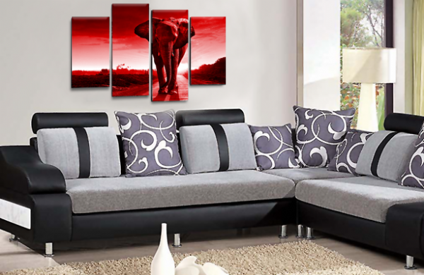 Sunset African Elephant Red Grey Canvas Wall Art Picture Print